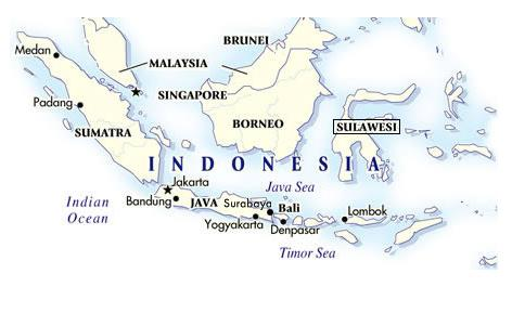 Map of Indonesia - Sources of our Celebes Kalossi Indonesian Coffee