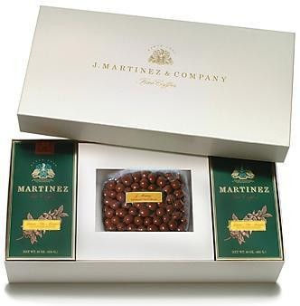 Gift Selection No. 3 - Gift Box for 2 One Pound Boxes of Coffee Plus Chocolate Covered Coffee Beans